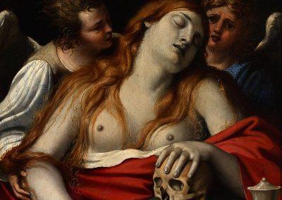 La Magdalena sostenida por dos ángeles